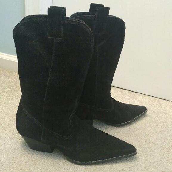 Michael Kors Suede Ankle Cowboy Boots
